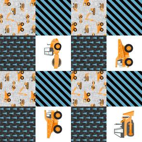 Construction Nursery Wholecloth - construction trucks - blue & orange (90)  - LAD19
