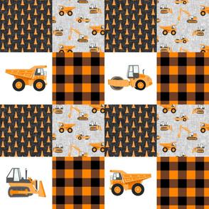 Construction Nursery Wholecloth - construction trucks - orange plaid   - LAD19