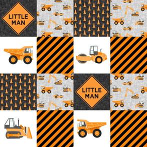 Little Man - Construction Nursery Wholecloth - orange  - LAD19