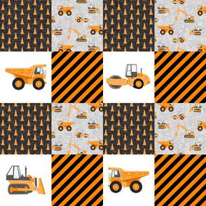 Construction Nursery Wholecloth - construction trucks - orange  - LAD19