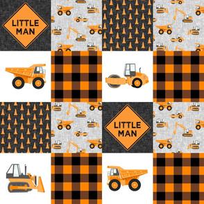 Little Man - Construction Nursery Wholecloth - orange plaid  - LAD19