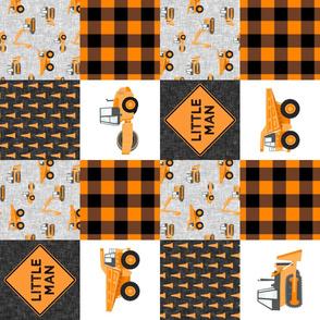 Little Man - Construction Nursery Wholecloth - orange plaid (90)  - LAD19