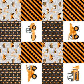 Construction Nursery Wholecloth - construction trucks - orange (90)  - LAD19