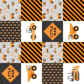 Little Man - Construction Nursery Wholecloth - orange (90)  - LAD19