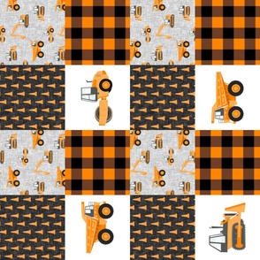 Construction Nursery Wholecloth - construction trucks - orange plaid  (90)  - LAD19