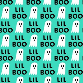 Lil Boo - Ghost - Halloween fabric - teal - LAD19