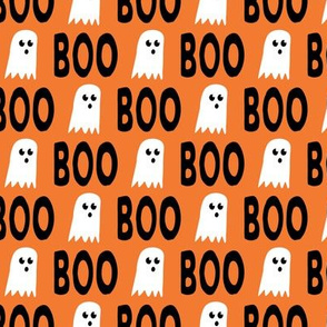 Boo - Ghost - Halloween fabric - orange - LAD19