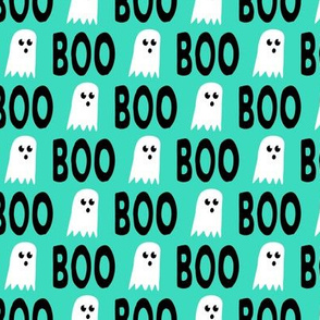 Boo - Ghost - Halloween fabric - teal - LAD19