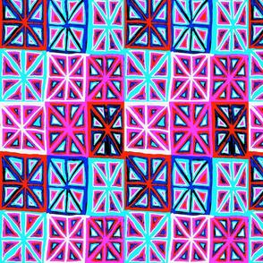 MINIMALIST CHEATER QUILT-PINK AQUA BLUE RED-BASIC