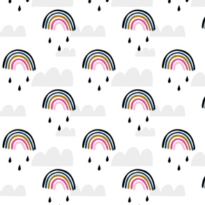 Rainbows clouds girls pattern