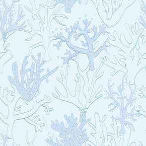 Coral Reef in Blue Seamless Pattern Design.