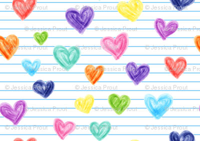 (small scale) marker hearts - skinny blue stripes - lad19bs