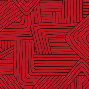 Little Maze stripes minimal Scandinavian grid style trend abstract geometric print Christmas lumber jack red black