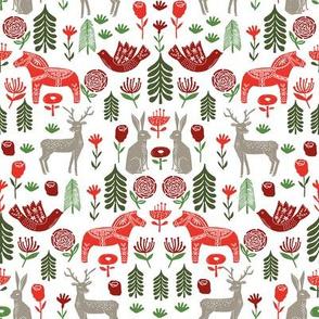 christmas folk fabric - christmas fabric, linocut fabric, block print fabric, dala horse fabric, scandi fabric, scandi christmas fabric, nordic christmas fabric - white multi