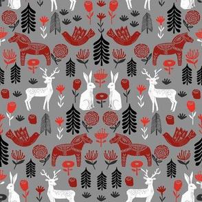 christmas folk fabric - christmas fabric, linocut fabric, block print fabric, dala horse fabric, scandi fabric, scandi christmas fabric, nordic christmas fabric - grey