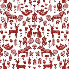 christmas folk fabric - christmas fabric, linocut fabric, block print fabric, dala horse fabric, scandi fabric, scandi christmas fabric, nordic christmas fabric - burgundy