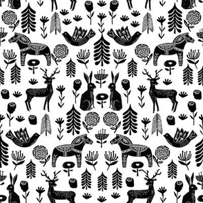 christmas folk fabric - christmas fabric, linocut fabric, block print fabric, dala horse fabric, scandi fabric, scandi christmas fabric, nordic christmas fabric - white