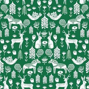 christmas folk fabric - christmas fabric, linocut fabric, block print fabric, dala horse fabric, scandi fabric, scandi christmas fabric, nordic christmas fabric -green