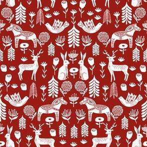 christmas folk fabric - christmas fabric, linocut fabric, block print fabric, dala horse fabric, scandi fabric, scandi christmas fabric, nordic christmas fabric - marroon