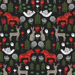 christmas folk fabric - christmas fabric, linocut fabric, block print fabric, dala horse fabric, scandi fabric, scandi christmas fabric, nordic christmas fabric - black