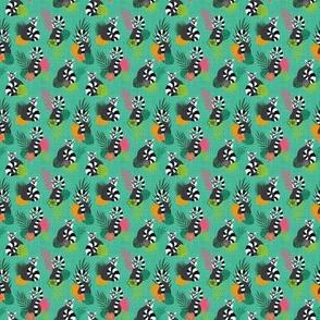 Tropical Lemurs - Aquamarine Small Scale