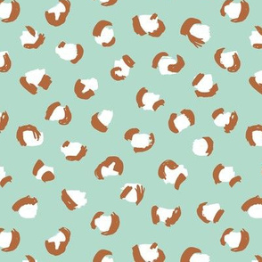 Trendy panther print animals fur minimal Scandinavian style raw brush abstract color mint copper brown fall