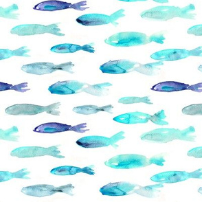 Sardines swimming to Maldives • watercolor fish sea pattern