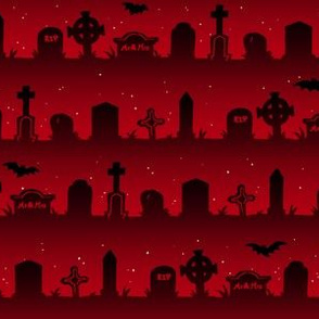 Cemetery Stripes in Red  1/2 Size