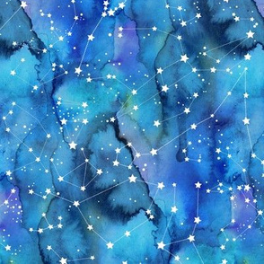 White constellations on blue watercolour background