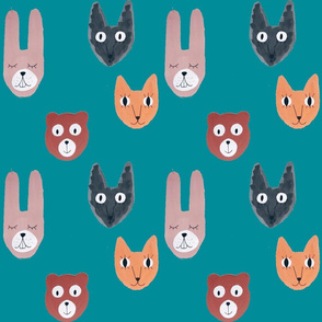 Forest animals teal