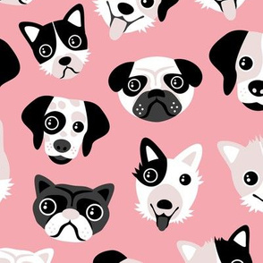 Little puppy friends dog illustration design  pink