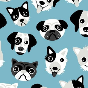 Little puppy friends dog illustration design  blue