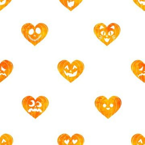 Watercolor Jack-O-Lantern Pumpkin Hearts on White