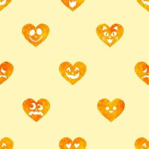 Watercolor Jack-O-Lantern Pumpkin Hearts on Yellow