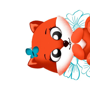 young fox and butterfly tea towel