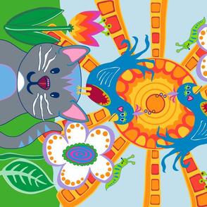 cat bird slug (group portrait) tea towel design