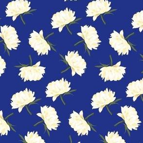 white peonies on blue