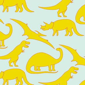 dinos! yellow and coral on mint