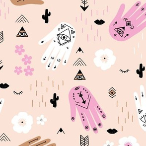 Boho hamsa western desert flowers and mountains modern icons sand pink copper