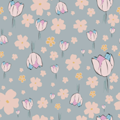 DAVK designs-Pastel color, Tulips & Flax flowers Pattern on babyblue background