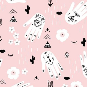 Boho hamsa western desert flowers and mountains modern icons pastel pink