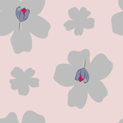 DAVK design-Blue&Red Tulips on baby blue Flax flowers on pale pink background Pattern