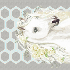 White Horse & Roses on Gray Hexagons