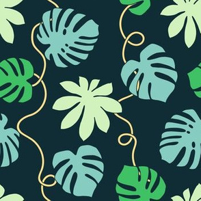 Green tropical leaves and lianas