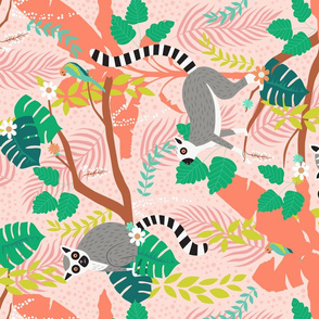 Lemurs in a Pink Jungle