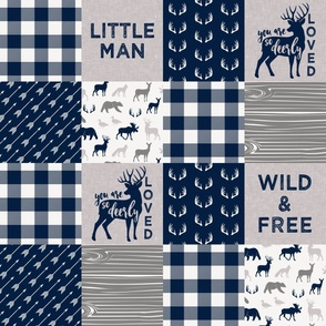 Little Man/Deerly Loved Woodland Wholecloth - navy and grey plaid   C19BS
