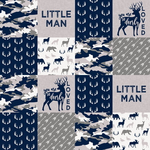 Little Man/Deerly Loved Woodland Wholecloth - navy and grey  C19BS