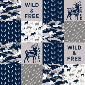 Wild&Free/Deerly Loved Woodland Wholecloth - navy and grey (90)