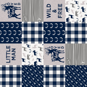 Little Man/Deerly Loved Woodland Wholecloth - navy and grey plaid  (90) C19BS