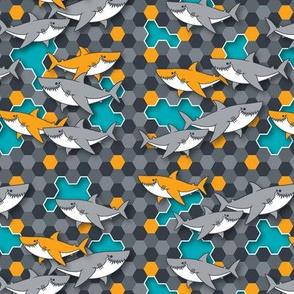 Happy Sharks Over Hexagons